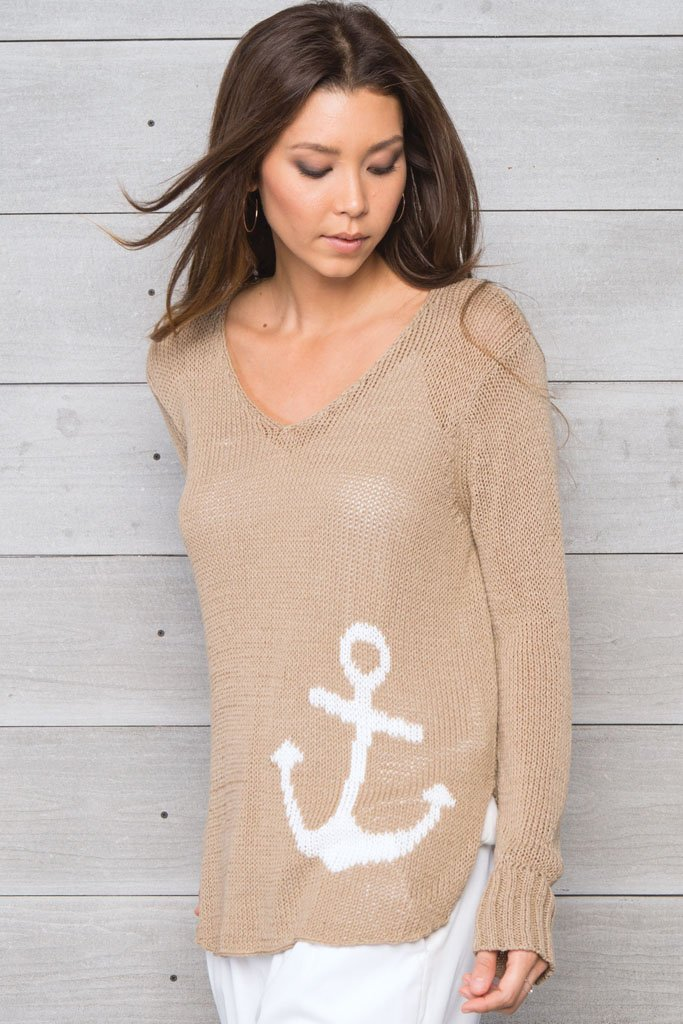 Women's Drop Anchor V-Neck Cotton Sweater | Wooden Ships Knits