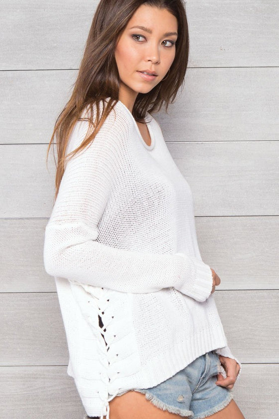 Women's Harbour Laced Top Cotton Sweater | Wooden Ships Knits