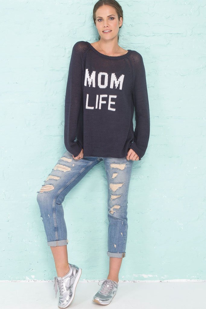 Women's Mom Life Raglan Cotton  Sweater | Wooden Ships Knits