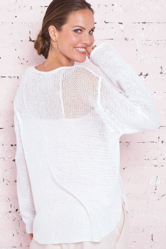 Women's Mom Wow V-Neck Cotton Sweater | Wooden Ships Knits