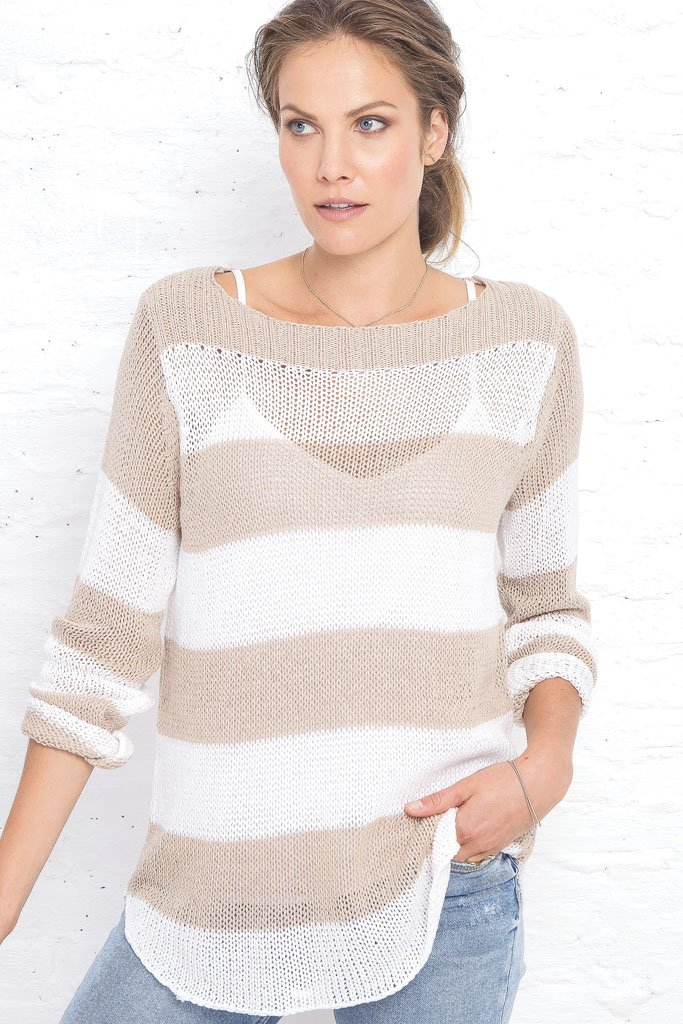 Women's Nautical Top Cotton Sweater | Wooden Ships Knits
