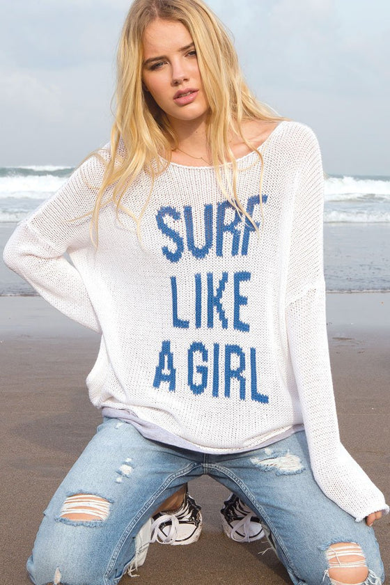 Women's Surf Like A Girl Crewneck Cotton Sweater | Wooden Ships Knits