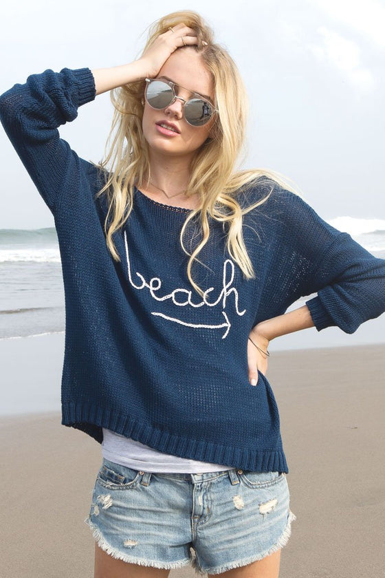 Women's To the Beach Crewneck Cotton  Sweater | Wooden Ships Knits