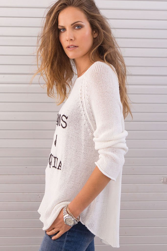 Women's Tacos & Tequila Crewneck  Cotton Sweater | Wooden Ships Knits