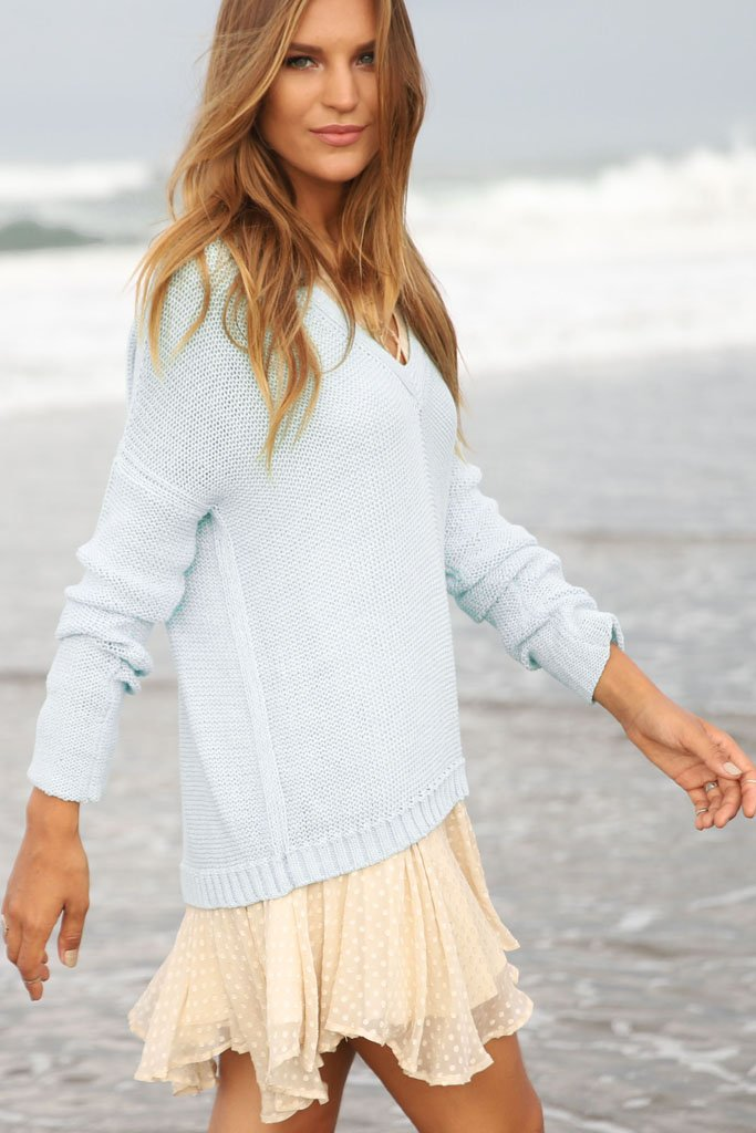 Women's Lakeside V-Neck Cotton Sweater | Wooden Ships Knits