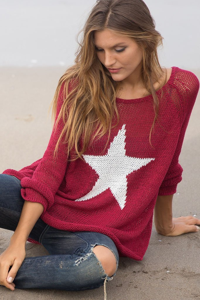 Women's Star Crewneck Cotton Sweater | Wooden Ships Knits