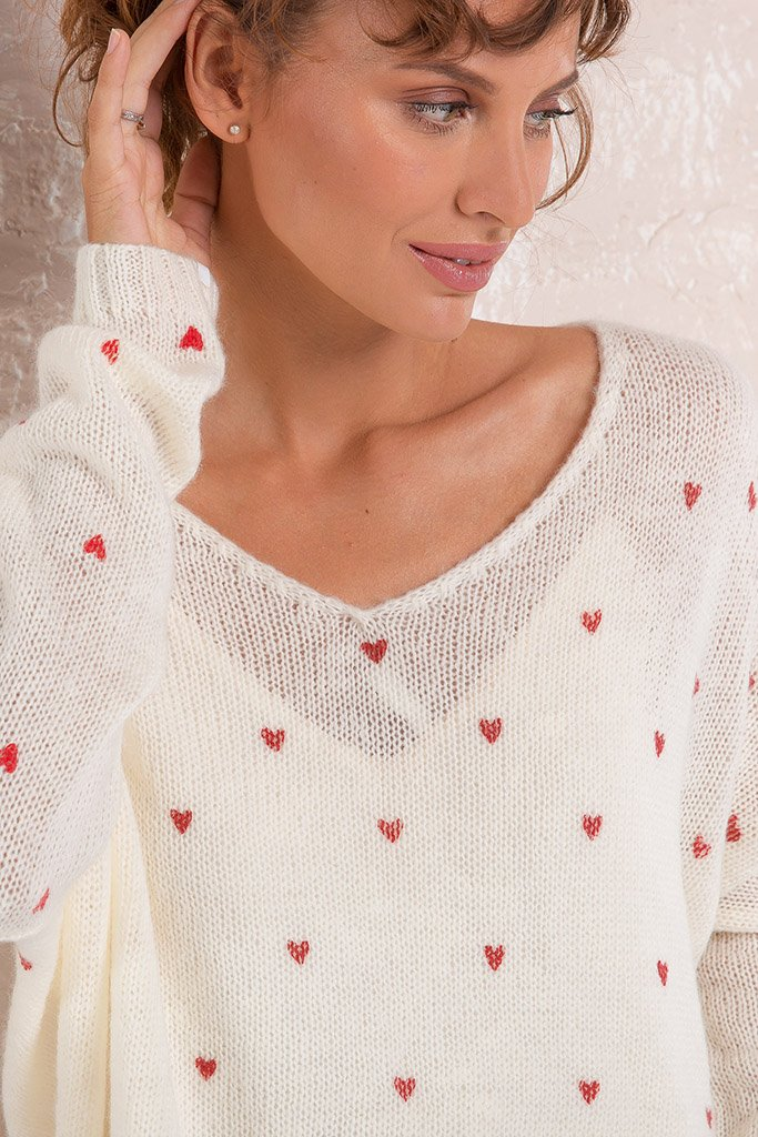 Women's Mini Heart V-Neck Sweater's | Wooden Ships Knits