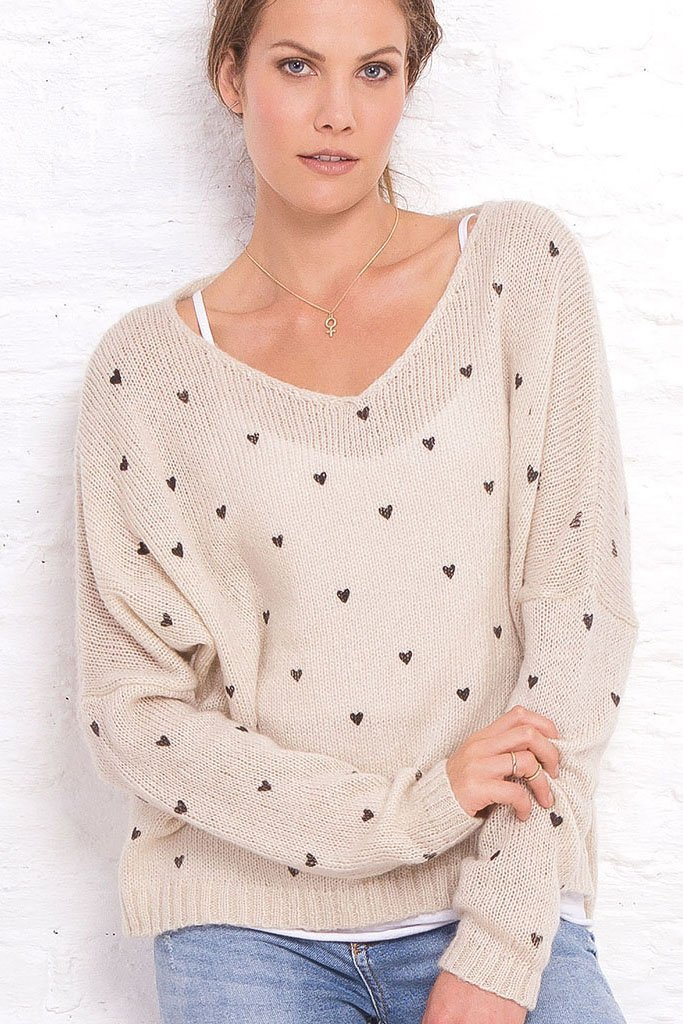 Women's Mini Hearts V-Neck Pullover Sweater | Wooden Ships Knits
