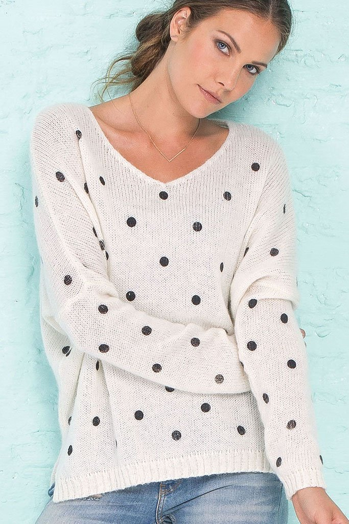 Women's Polka Dot V-Neck Pullover Sweater | Wooden Ships Knits