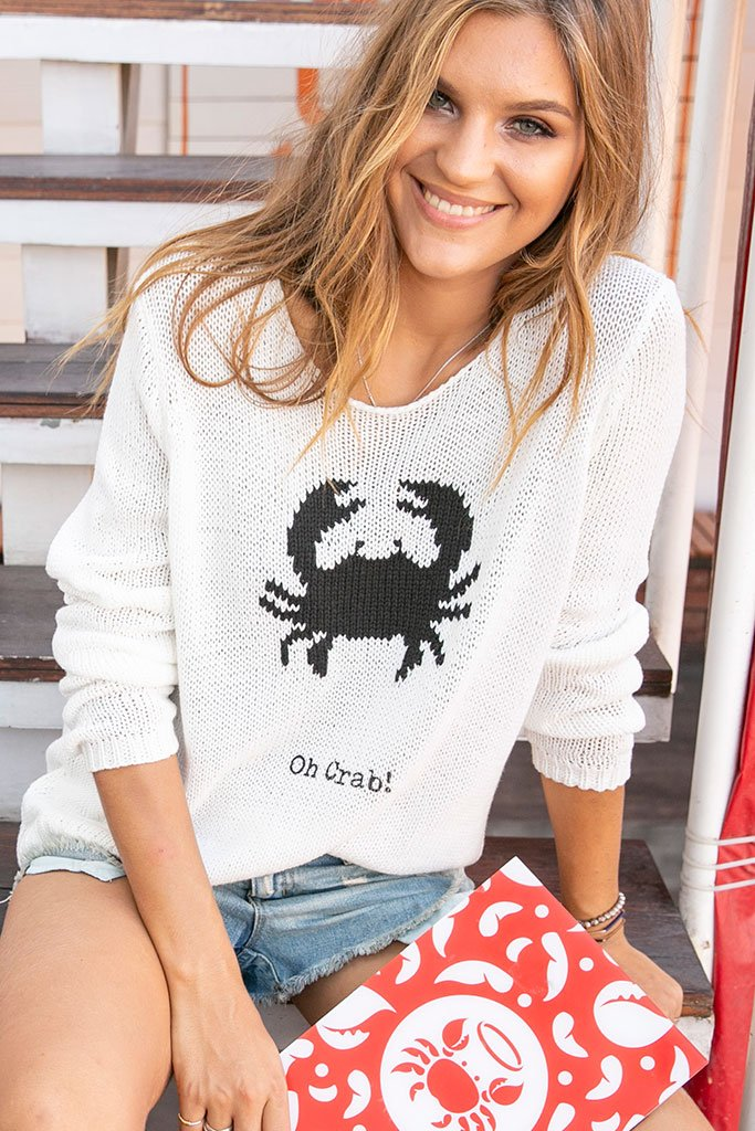 Women's Oh Crab! Crewneck Cotton Sweater's | Wooden Ships Knits