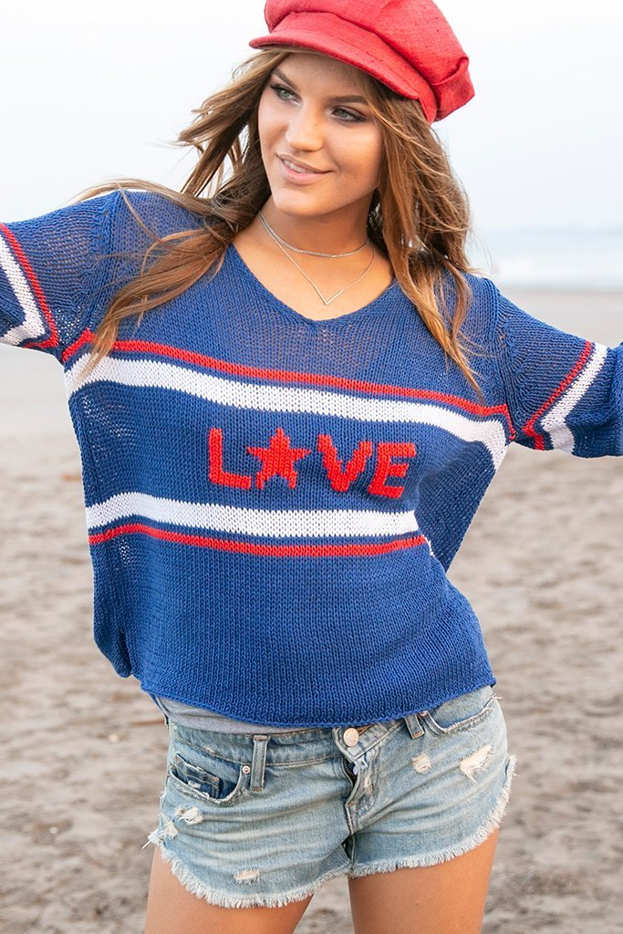 Women's Retro Love V-Neck Cotton Sweater's | Wooden Ships Knits