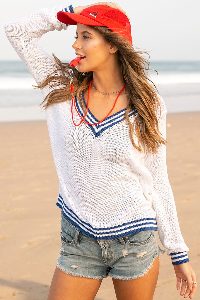 Women's Robbie V-Neck Cotton Sweater's | Wooden Ships Knits