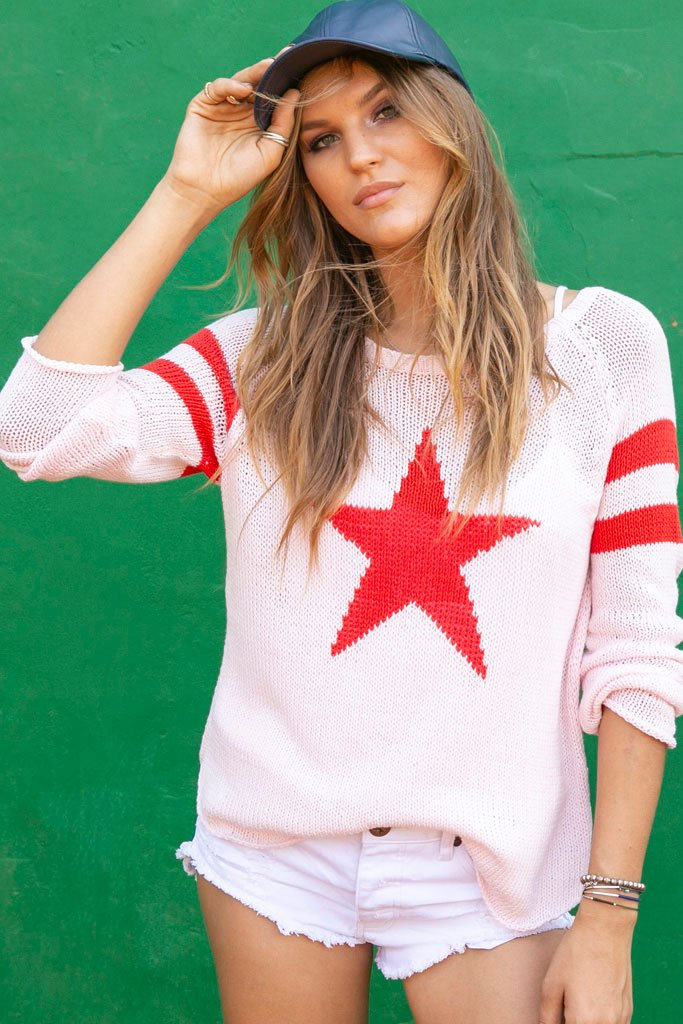 Women's Star Raglan Cotton Sweater's | Wooden Ships Knits