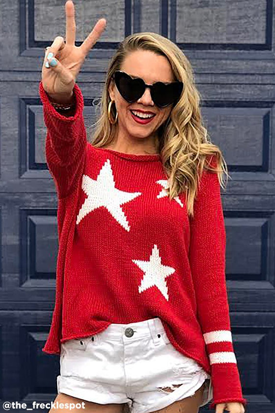 Women's Stars + Stripes Top Cotton Sweater's | Wooden Ships Knits