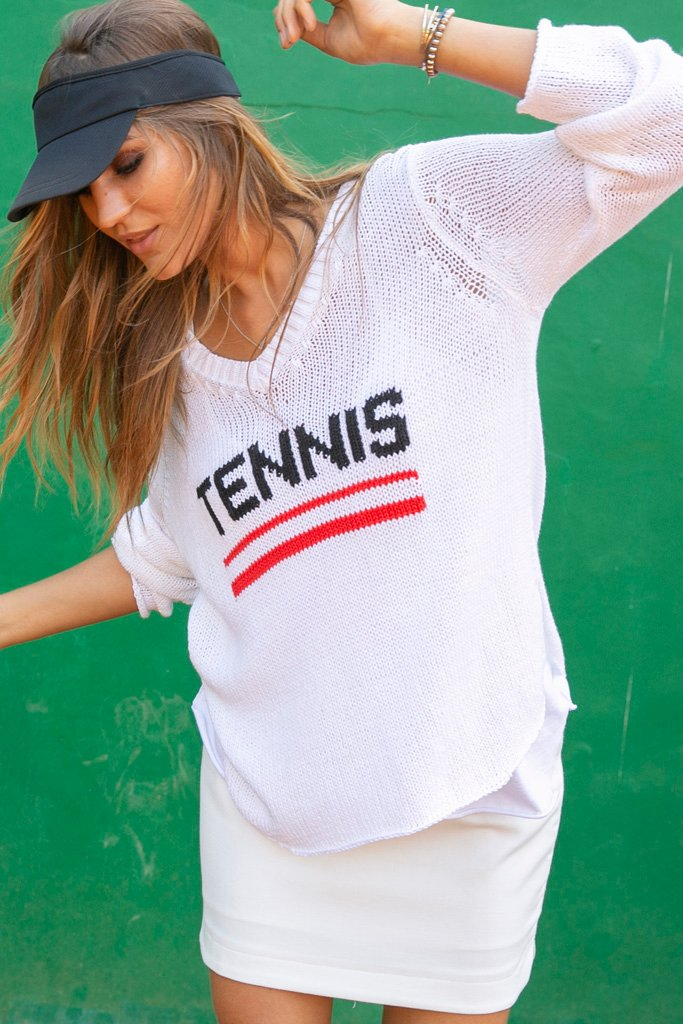 Women's Tennis V-Neck Cotton Sweater's | Wooden Ships Knits