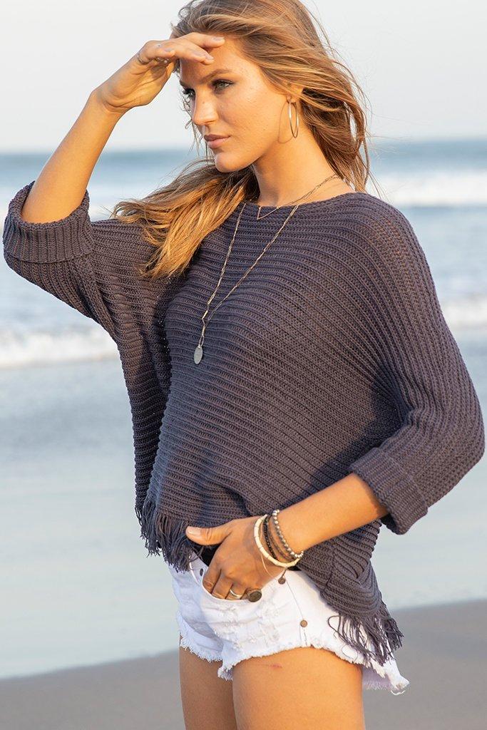 Women's Billie Fringe Top Cotton Sweater's | Wooden Ships Knits