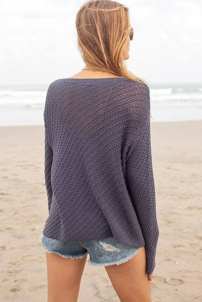 Women's French Lace V-Neck Cotton Sweater's | Wooden Ships Knits