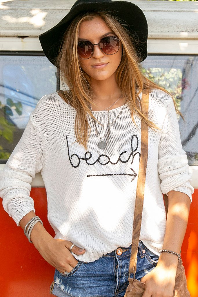 Women's To The Beach Crewneck Cotton Sweater's | Wooden Ships Knits