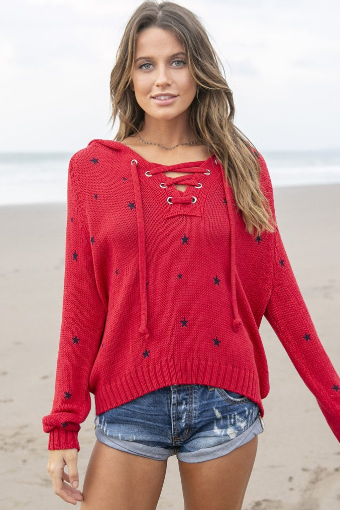 Women's Star Hoodie Cotton  Sweater's | Wooden Ships Knits