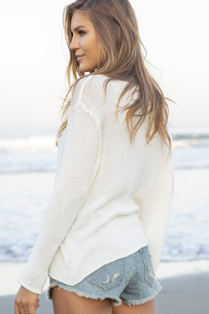 Women's Good Vibes Crewneck Cotton Sweater's | Wooden Ships Knits