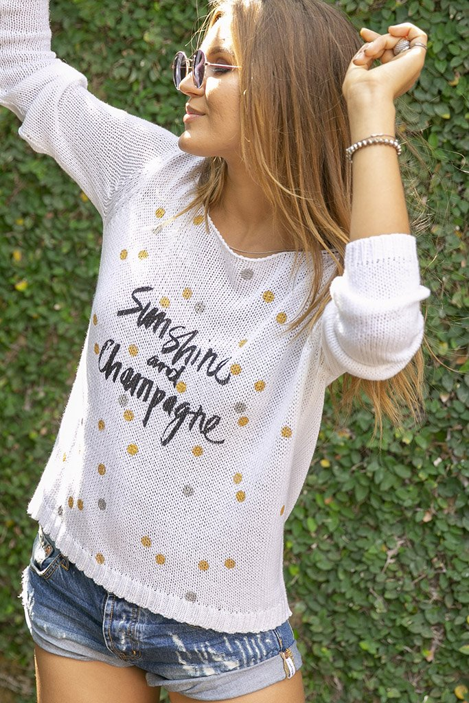 Women's Sunshine and Champagne Crewneck Cotton Sweater's | Wooden Ships Knits