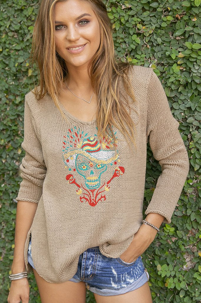 Women's Cinco De Mayo Skull V-Neck Cotton Sweater's | Wooden Ships Knits