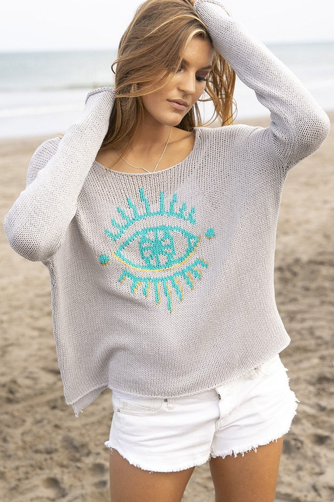 Women's Evil Eye Crewneck Cotton Sweater's | Wooden Ships Knits