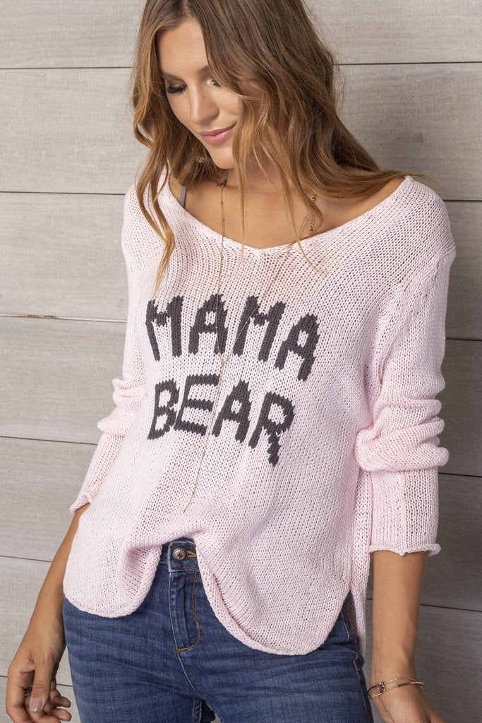 Women's Mama Bear V-neck Sweater | Wooden Ships Knits