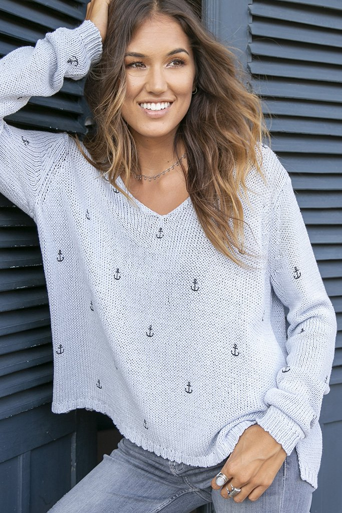 Women's Mini Anchors V-Neck Cotton Sweater's | Wooden Ships Knits