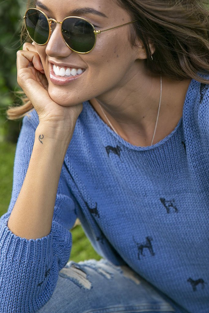 Women's Mini Dogs Crewneck Cotton Sweater's | Wooden Ships Knits