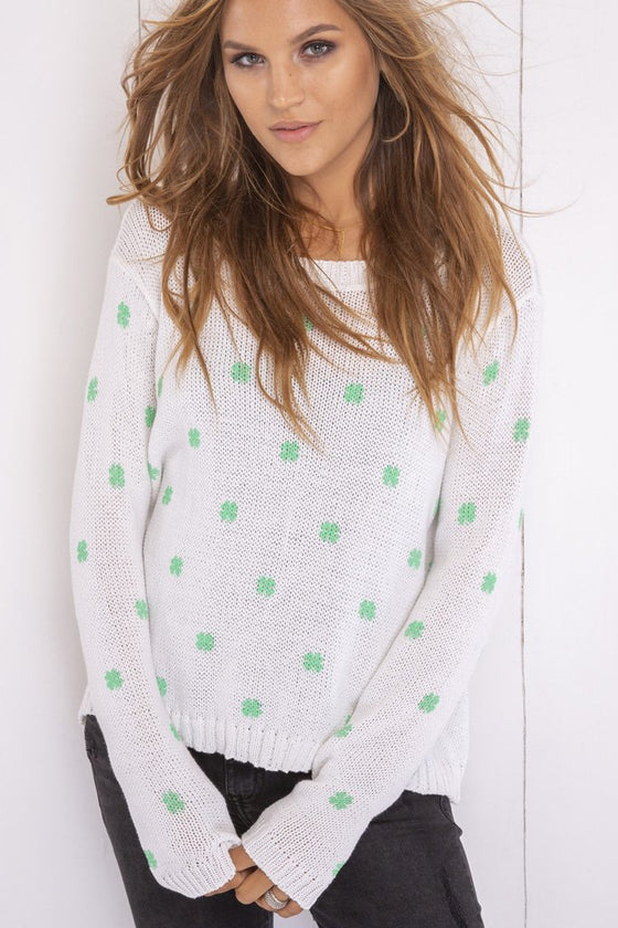Women's Mini Shamrock Crewneck Cotton Sweater's | Wooden Ships Knits