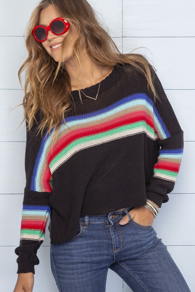 Women's Rainbow Crewneck Cotton  Sweater's | Wooden Ships Knits