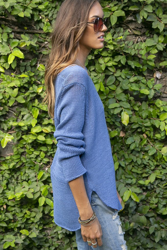 Women's Shirt Tail V-Neck Tunic Cotton Sweater's | Wooden Ships Knits