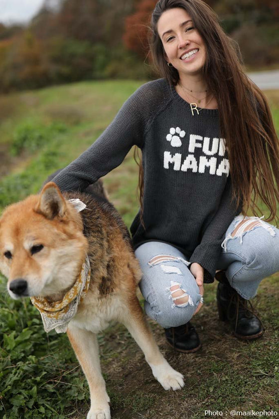 Women's Fur Mama Raglan Crewneck Cotton Sweater's | Wooden Ships Knits
