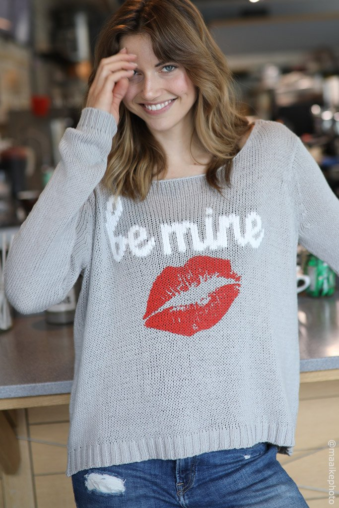 Women's Be Mine Crewneck Cotton Sweater's | Wooden Ships Knits