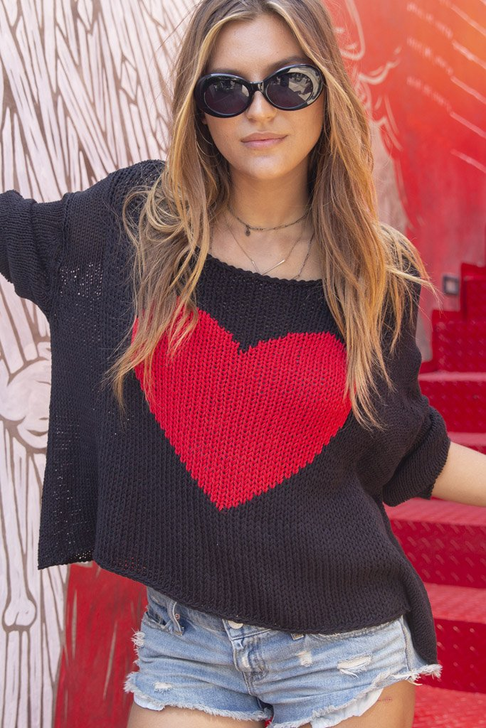 Women's Big Heart Top Cotton Sweater's | Wooden Ships Knits