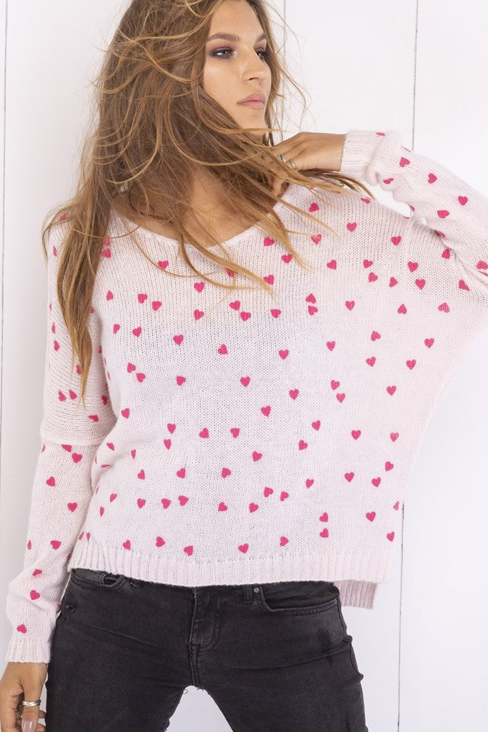 Women's Mini Hearts V-neck Lightweight Sweater's | Wooden Ships Knits