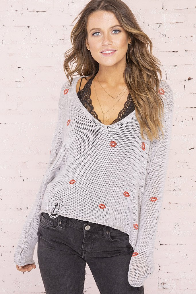 Women's Mini Kisses Distressed V-Neck Sweater's | Wooden Ships Knits