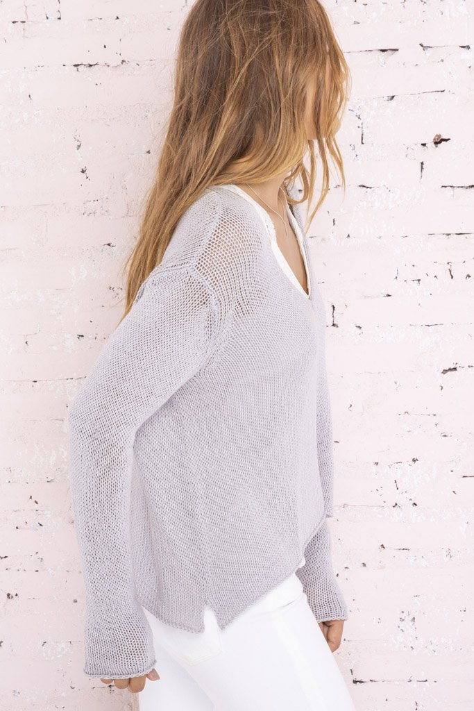 Women's Suzy Cropped V-Neck Cotton Sweater's | Wooden Ships Knits
