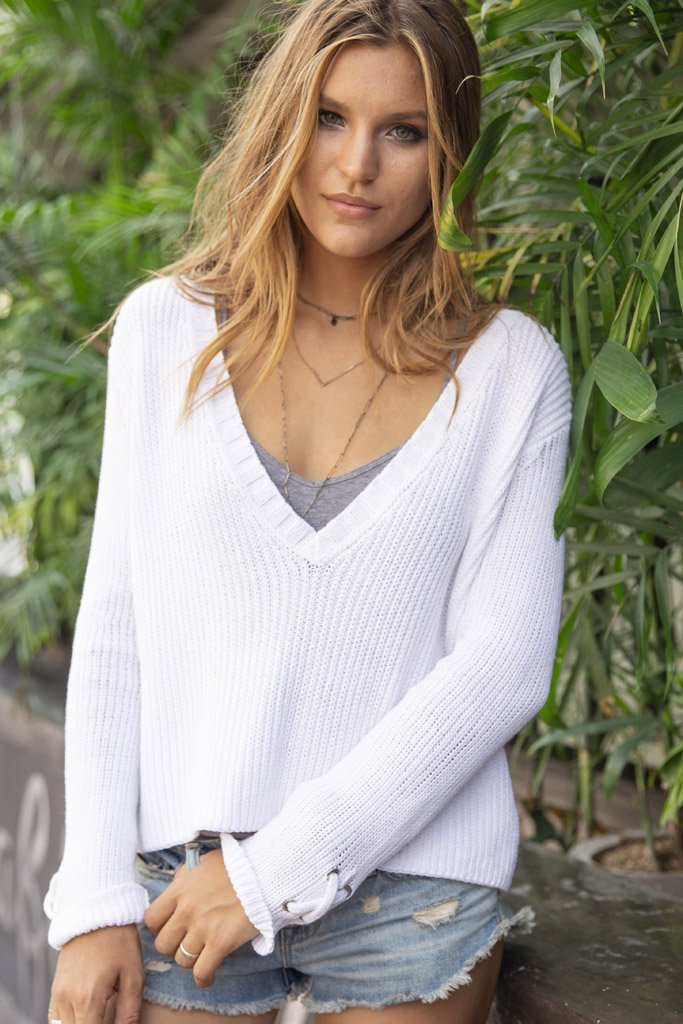 Women's Tommy Ribbed V-Neck Cotton Sweater's | Wooden Ships Knits