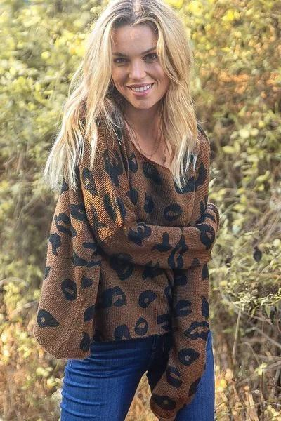 Women's Leopard Crew Lightweight Sweater's | Wooden Ships Knits