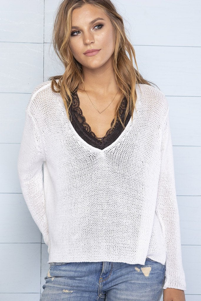 Women's Suzy Cropped V Cotton Sweater's | Wooden Ships Knits