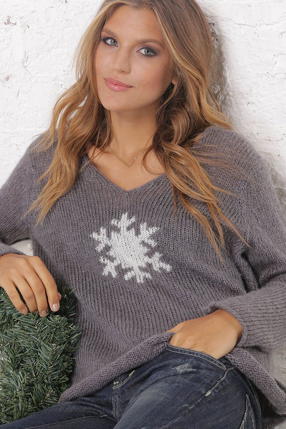 Women's Snowflake V-Neck Sweater | Wooden Ships Knits