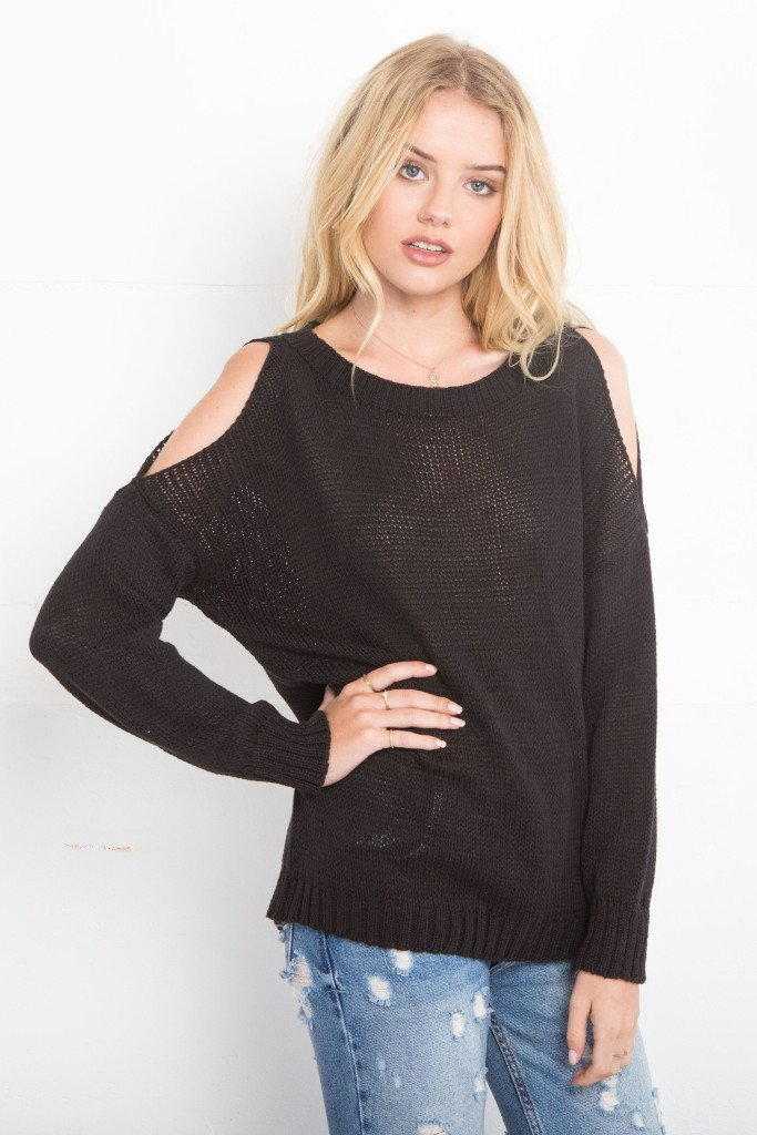 Women's Cold Shoulder Top Cotton Sweater | Wooden Ships Knits