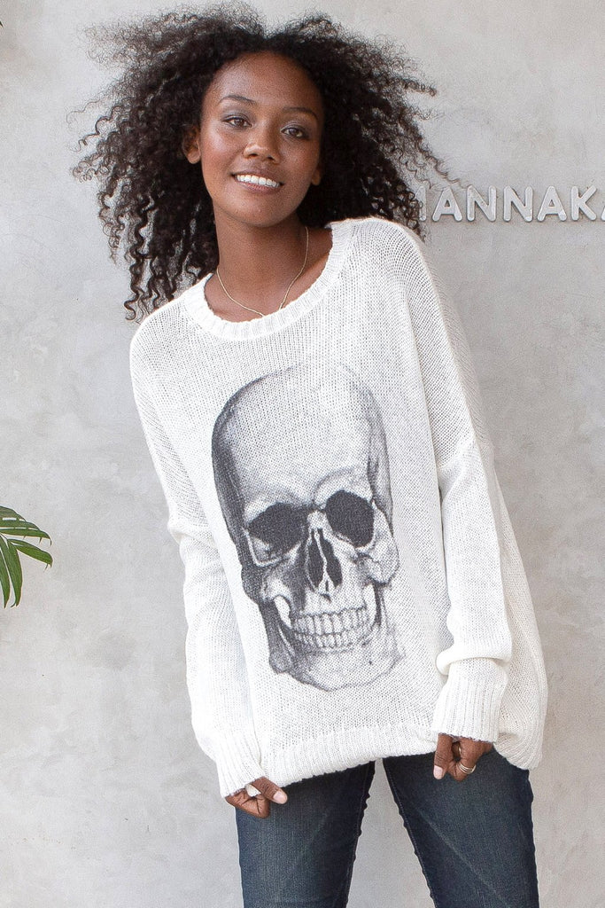 Women's Big Skull Crew Lightweight Sweater's | Wooden Ships Knits