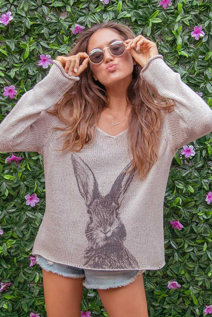 Women's Bunny V Cotton Sweater's | Wooden Ships Knits