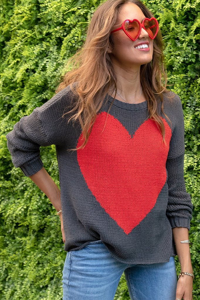Women's Bursting Heart Crew Cotton Sweater's | Wooden Ships Knits
