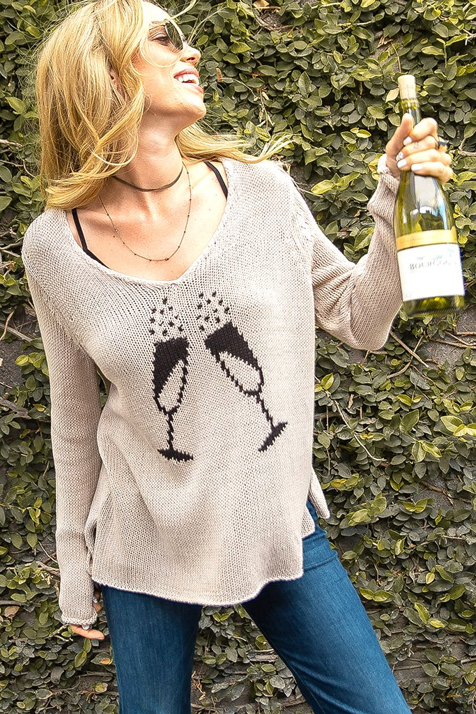 Women's Champagne Toast V Cotton Sweater's | Wooden Ships Knits