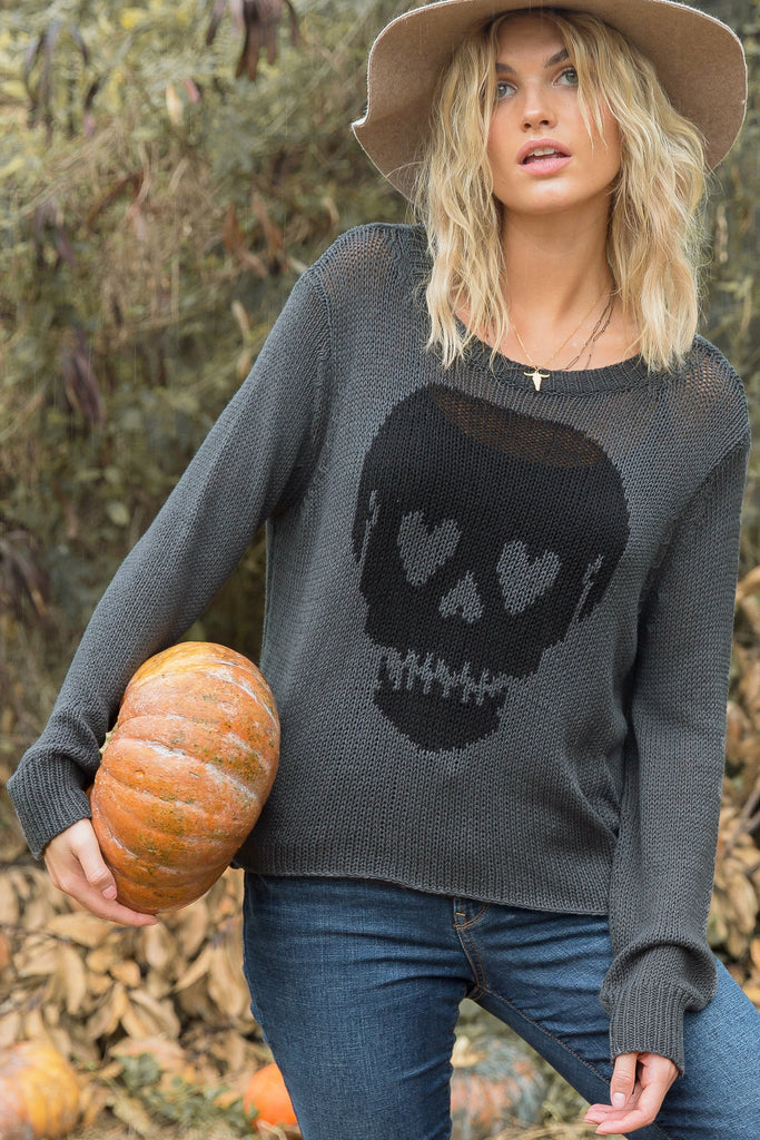 Women's Skull Eyes Crew Cotton Sweater's | Wooden Ships Knits