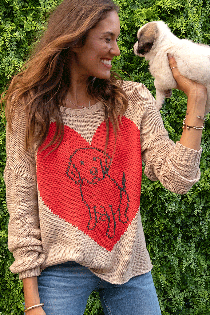 Women's Dog Lover Crew Cotton Sweater's | Wooden Ships Knits